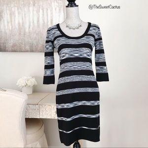 Calvin Klein 3/4 Sleeve Stripe Sweater Dress